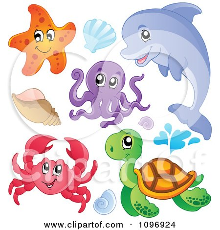Clipart Cute Starfish Dolphin Octopus Crab Sea Turtle And Shells - Royalty Free Vector Illustration by visekart