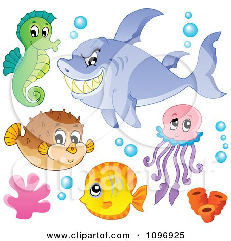 Clipart Green Seahorse Mean Shark Blowfish Jellyfish And Fish - Royalty Free Vector Illustration by visekart