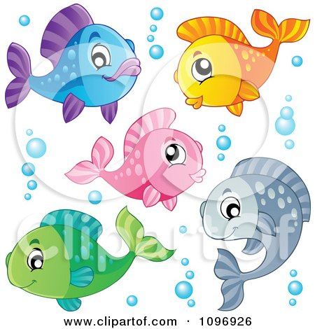 Clipart Two Outlined Happy Fish Playing Underwater