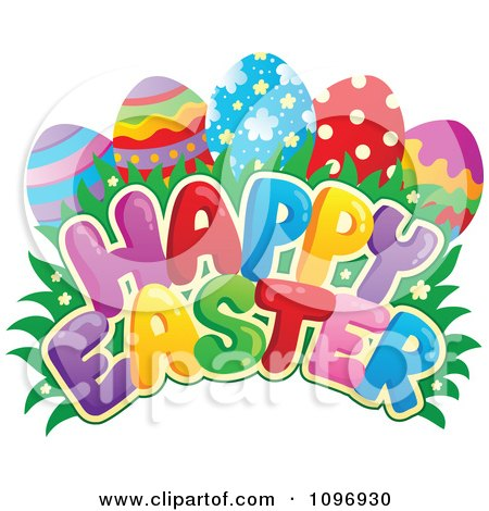 Clipart Colorful Happy Easter Greeting Eggs Grass And Flowers - Royalty Free Vector Illustration by visekart
