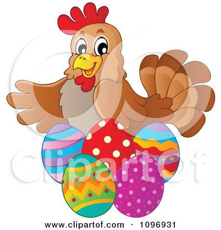 Clipart Friendly Brown Hen With Easter Eggs - Royalty Free Vector Illustration by visekart