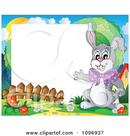 Love Picture Frames on Clipart Happy Easter Rabbit Waving Around A Frame   Royalty Free
