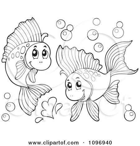 Clipart Two Outlined Happy Fish Playing Underwater - Royalty Free Vector Illustration by visekart