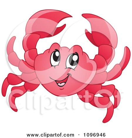 Clipart Happy Red Crab - Royalty Free Vector Illustration by visekart