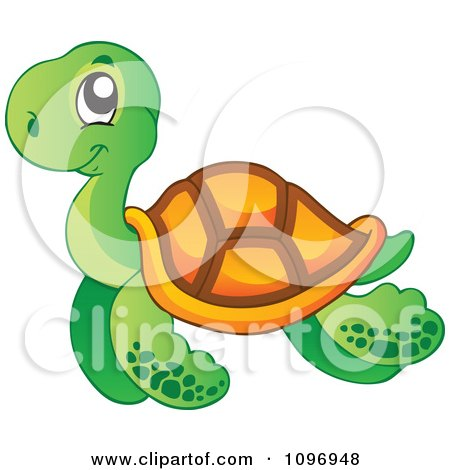 Clipart Happy Swimming Sea Turtle - Royalty Free Vector Illustration by visekart