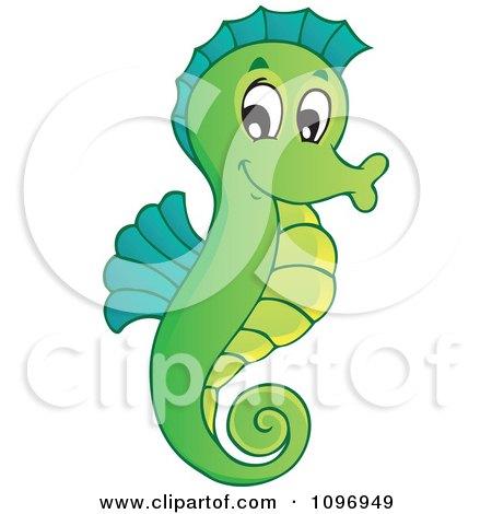 Happy Green Seahorse b...