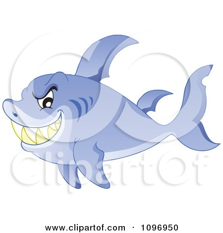 Clipart Sharp Toothed Shark Grinning - Royalty Free Vector Illustration by visekart