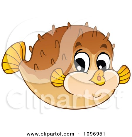 Clipart Happy Cute Puffer Fish - Royalty Free Vector Illustration by visekart