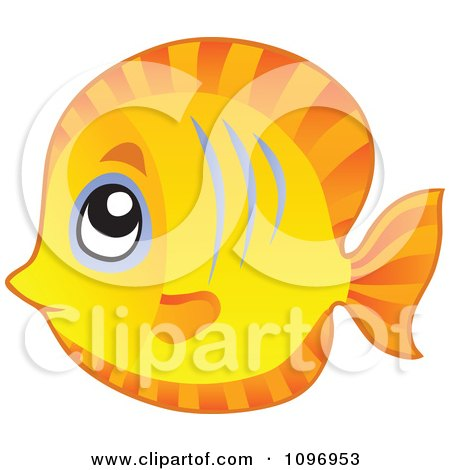 Clipart Happy Cute Orange Fish - Royalty Free Vector Illustration by visekart