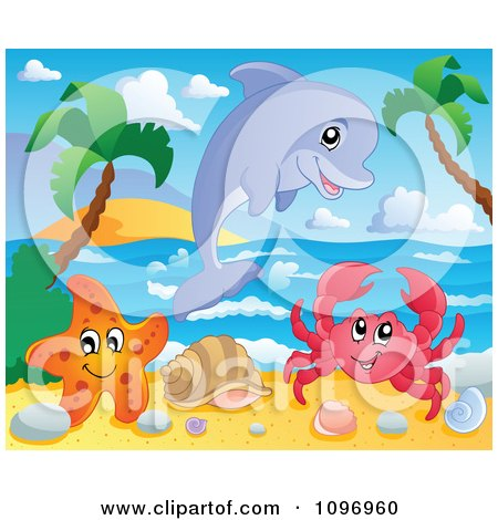Clipart Happy Dolphin Starfish And Crab On A Tropical Beach - Royalty Free Vector Illustration by visekart