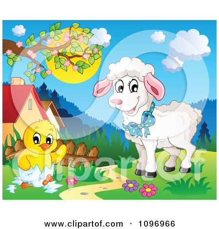 Clipart Happy Lamb Watching A Spring Chick Hatching In A Meadow - Royalty Free Vector Illustration by visekart