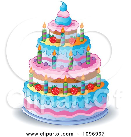 Clipart Four Tiered Colorful Birthday Cake With Candles And Strawberries - Royalty Free Vector Illustration by visekart