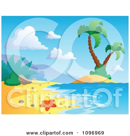 Clipart Tropical Sea Shore With A Starfish Surf And Palm Trees - Royalty Free Vector Illustration by visekart
