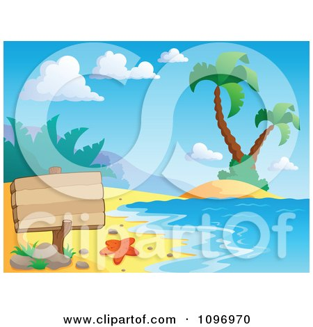 Clipart Blank Wood Sign On A Tropical Beach With Palm Trees - Royalty Free Vector Illustration by visekart