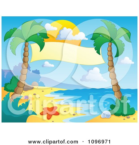 Clipart Blank Banner Suspended Between Palm Trees On A Tropical Beach - Royalty Free Vector Illustration by visekart