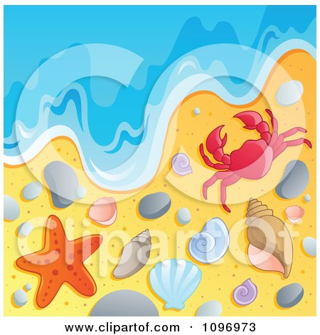 Clipart Beach Background With The Ocean Surf Shells Crab And Starfish - Royalty Free Vector Illustration by visekart