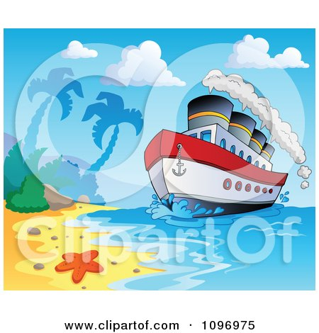 Clipart Travel Cruiseship Arriving At A Tropical Beach - Royalty Free Vector Illustration by visekart
