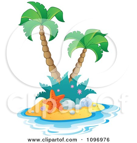 Clipart Tropical Island With Two Palm Trees And A Starfish - Royalty Free Vector Illustration by visekart