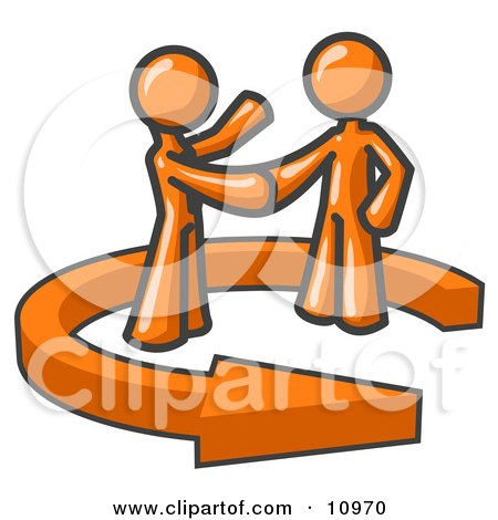 Orange Salesman Shaking Hands With a Client While Making a Deal Clipart Illustration by Leo Blanchette