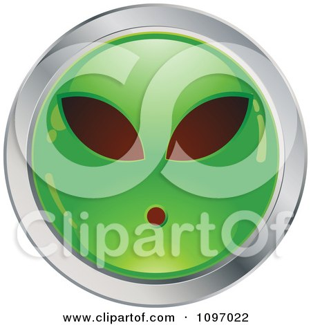 Clipart Green And Chrome Alien Cartoon Smiley Emoticon Face - Royalty Free Vector Illustration by beboy