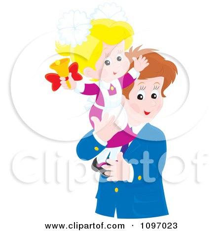 Clipart Happy Father Holding His Little Girl As She Rings A Bell - Royalty Free Vector Illustration by Alex Bannykh