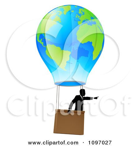 Clipart Businessman Pointing And Floating In A World Hot Air Balloon - Royalty Free Vector Illustration by AtStockIllustration