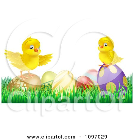 Clipart Cute Yellow Easter Chicks On Top Of Decorated Eggs In Grass - Royalty Free Vector Illustration by AtStockIllustration