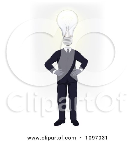 Clipart Businessman With A Lightbulb Head Standing With His Hands On His Hips - Royalty Free Vector Illustration by AtStockIllustration