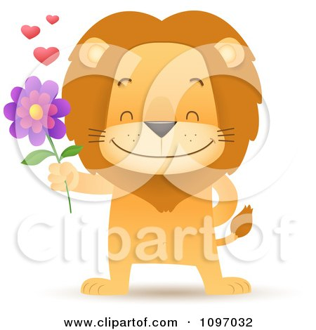 Clipart Sweet Romantic Lion Holding Out A Flower - Royalty Free Vector Illustration by Qiun