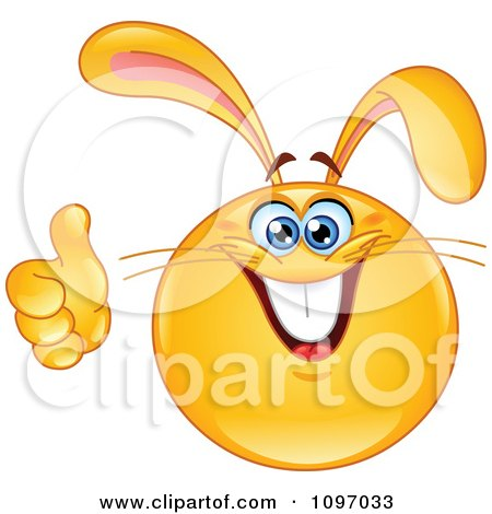 Clipart Happy Easter Bunny Rabbit Emoticon Holding A Thumb Up - Royalty Free Vector Illustration by yayayoyo