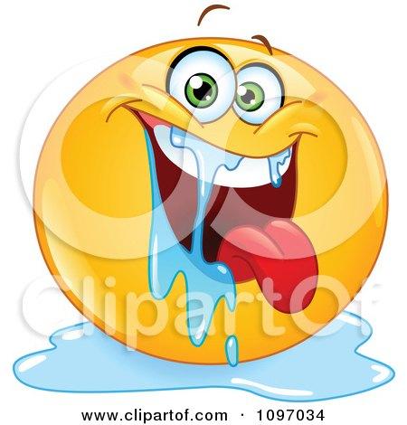 Clipart Happy Drooling Emoticon - Royalty Free Vector Illustration by yayayoyo
