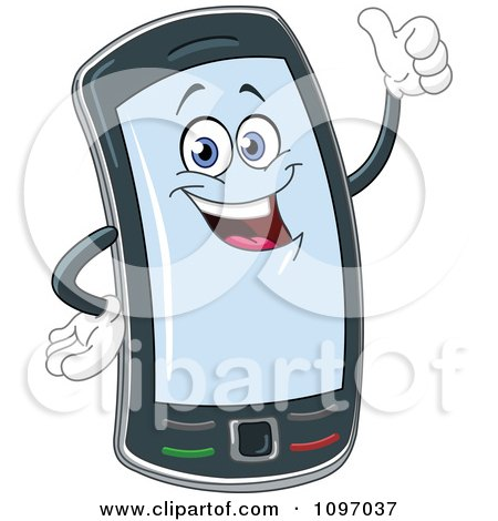 Clipart Happy Cell Phone Character Holding A Thumb Up - Royalty Free Vector Illustration by yayayoyo
