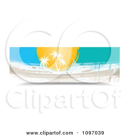 Clipart Banner Of Palm Trees And Painted Streaks - Royalty Free Vector Illustration by MilsiArt