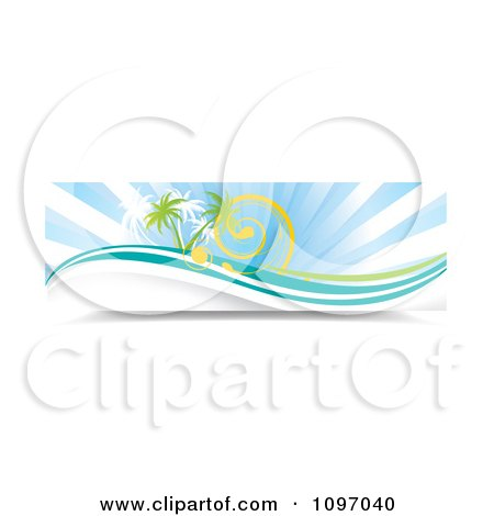 Clipart Banner Of Sun Rays Swirls Waves And Palm Trees - Royalty Free Vector Illustration by MilsiArt