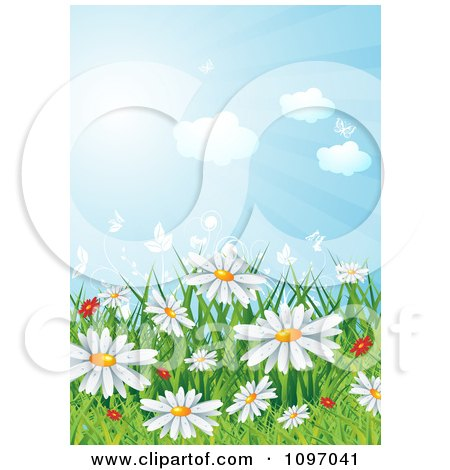 Clipart Background Of Red And White Spring Wildflowers In Grass Under A Sunny Sky - Royalty Free Vector Illustration by MilsiArt