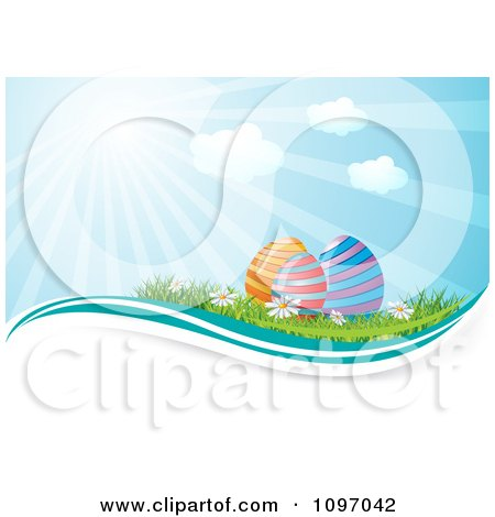 Clipart Colorful Easter Eggs In Grass With Wildflowers And Sunshine - Royalty Free Vector Illustration by MilsiArt