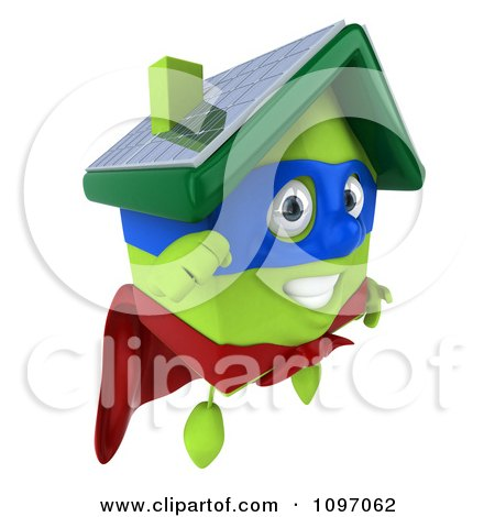 Clipart 3d Super Solar Green Clay Home In Flight 1 - Royalty Free CGI Illustration by Julos