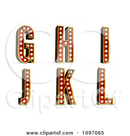 Clipart 3d Theatre Light Alphabet Set G Through L - Royalty Free CGI Illustration by stockillustrations