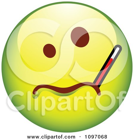 Clipart Sick Green Cartoon Smiley Emoticon Face With A Thermometer - Royalty Free Vector Illustration by beboy