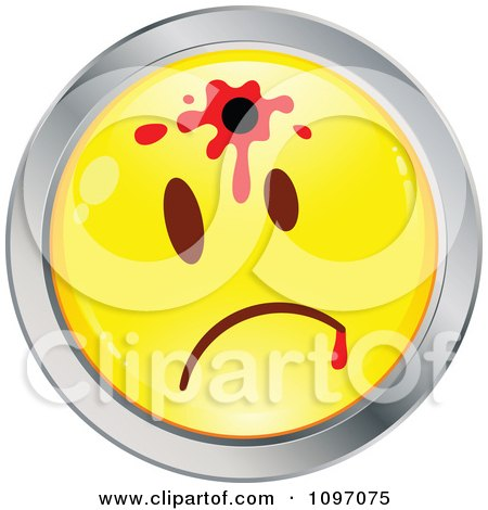 Clipart Shot Yellow And Chrome Cartoon Smiley Emoticon Face 2 - Royalty Free Vector Illustration by beboy