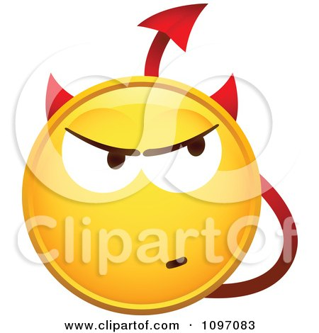 Clipart Yellow Devil Cartoon Smiley Emoticon Face - Royalty Free Vector Illustration by beboy