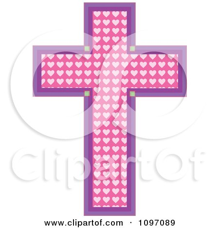 Clipart Pink Heart Patterned Easter Cross Outlined In Purple - Royalty Free Vector Illustration by Maria Bell