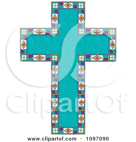 Clipart Turquoise Peace Dove Patterned Easter Cross Bordered With Stained Glass - Royalty Free Vector Illustration by Maria Bell