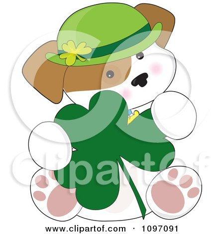 Clipart Cute St Patricks Day Puppy Sitting With A Shamrock - Royalty Free Vector Illustration by Maria Bell