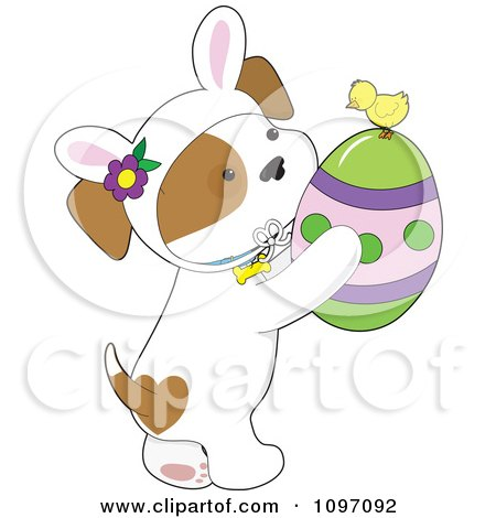 Clipart Cute Puppy Wearing Bunny Ears And Holding An Easter Egg With A Chick - Royalty Free Vector Illustration by Maria Bell
