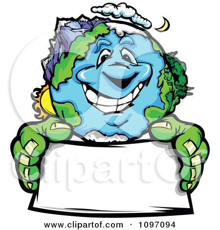Clipart Happy Earth Mascot Holding A Sign - Royalty Free Vector Illustration by Chromaco