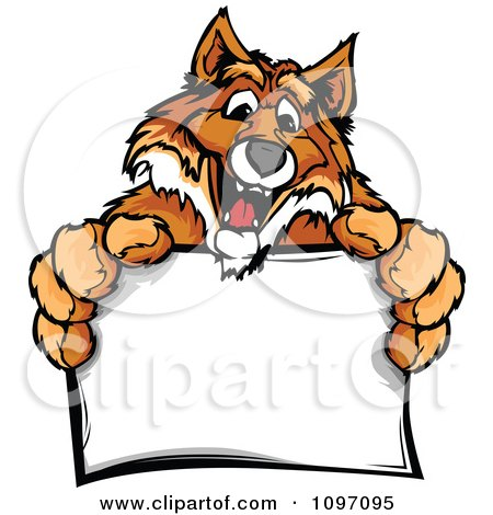 Clipart Happy Fox Mascot Holding A Sign - Royalty Free Vector Illustration by Chromaco