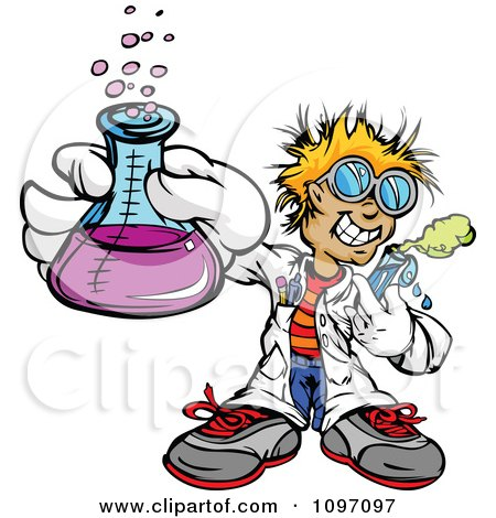 Clipart Happy Blond Scientist Boy Holding A Flask And Test Tube - Royalty Free Vector Illustration by Chromaco