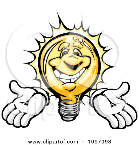Clipart Happy Shining Light Bulb Mascot Holding His Arms Out - Royalty Free Vector Illustration by Chromaco