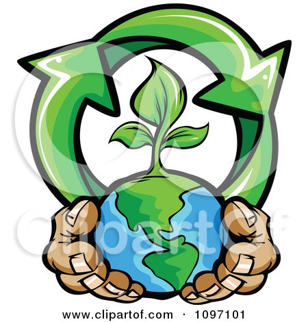 Clipart Pair Of Hands Holding A Sprouting Earth With Recycle Arrows - Royalty Free Vector Illustration by Chromaco